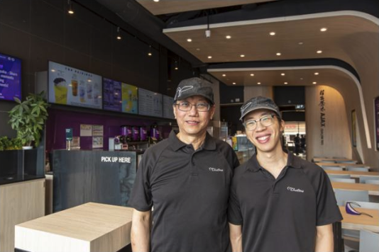 Chatime bubble tea franchise owner Keenan Wong with son Anson